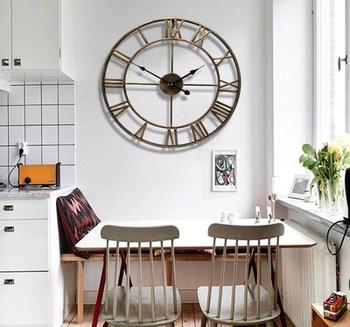 80 CM Europe du nord brève créative horloge murale chiffres romains rétro fer montres Antique Klok décorations de mariage horloges murales