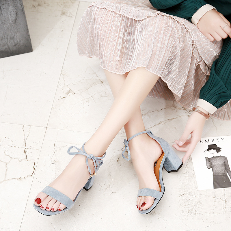 Beige Black Gladiator Sandals Summer Office High Heels Shoes Woman Buckle Strap Pumps Casual Women Shoes Plus Size 34-40 n686 3
