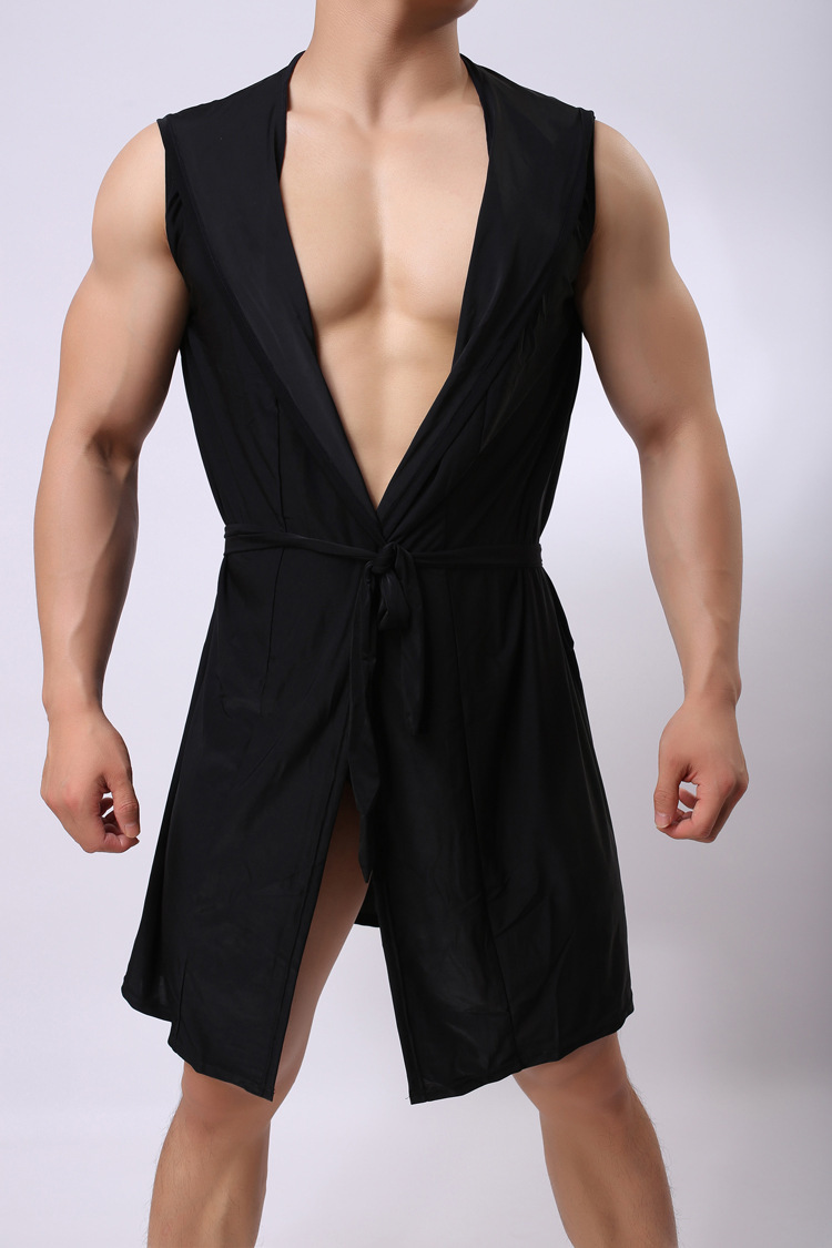 Foreign Trade European Man Ice Silk Robe Fashion Leisure Time Bathrobe Chalaza Pajamas   onesie Casual