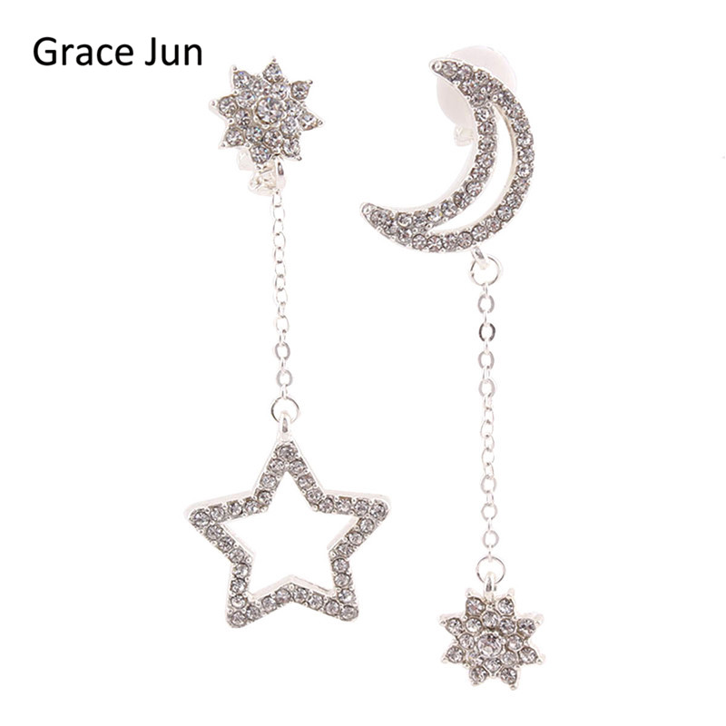 Grace Jun(TM) Long Rhinestone Silver Plated Star Moon Snowflake Shape Clip on Earrings No Pierced for Women Ear Clip Korea Style