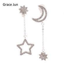 Grace Jun(TM) Long Rhinestone Silver Plated Star Moon Snowflake Shape Clip on Earrings No Pierced for Women Ear Clip Korea Style