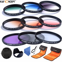 K&F CONCEPT 52/58mm Camera Filter Kit UV CPL FLD+Graduated Grey Blue Orange Red Green Brown Color Filter+Pouch+Hood/Cap+Cleaning
