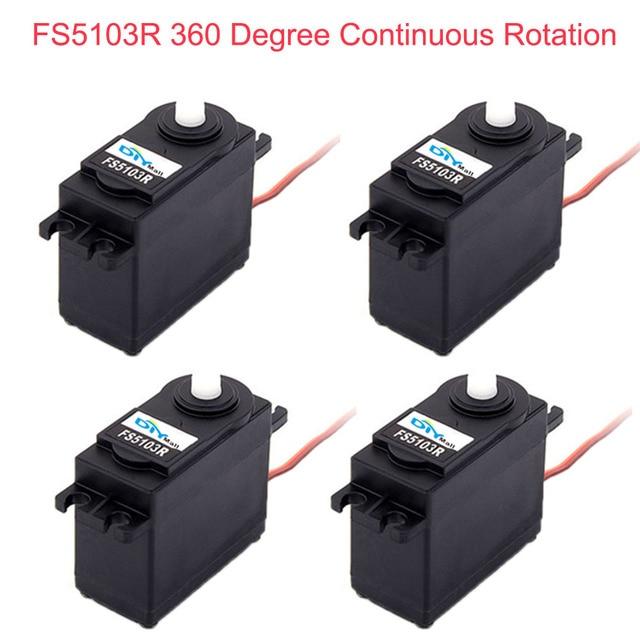 4 Uds. Feetech FS5103R 3 kg. cm 360 grados de rotación continua RC servomotor analógico para Robot Smart Car Boat FZ3413