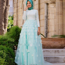 Dubai Arabic Muslim Evening Dresses Long Sleeves Flowers High Neck with Hijab Moroccan Kaftan Prom Party Gowns 2016 Elegant