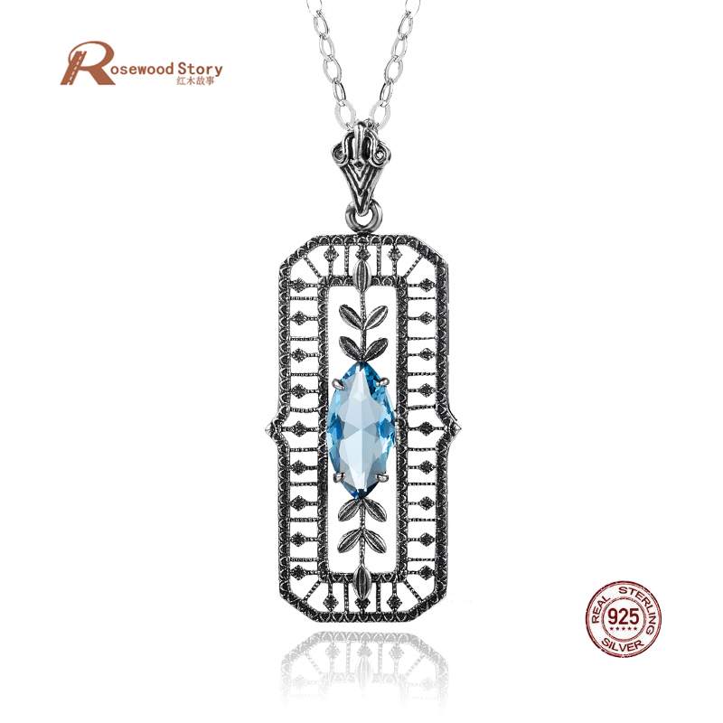 e3e0f7c3245 Aliexpress.com : Buy Vintage Flower Necklaces Pendants For Women Lab  Aquamarine Stone Antique Trendy Cute/Romantic 925 Sterling Silver Jewelry  Choker from ...