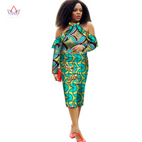 BRW 2017 New African Dresses For Women Vestidos Off The Shoulder African Dress Dashiki Fight Color