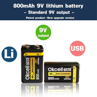 New Arrival 2PCS OKcell 9V 800mAh USB Rechargeable Lipo Battery For RC Helicopter Model Microphone