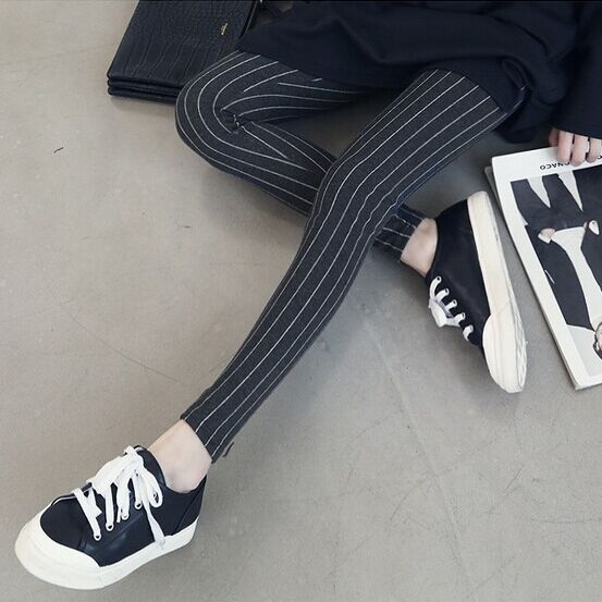 2015 Fashion Casual Fitness Stripe Cotton Legging Women Slim Pencil Pants Elastic Mid Waist Skinny Trousers Jeggins Lady Legings