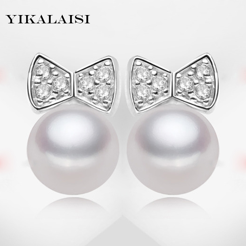 Buy YIKALAISI brand 2017 fashion real natural 7-8mm freshwater pearl stud earrings for women 925 sterling-silver-jewelry ear studs