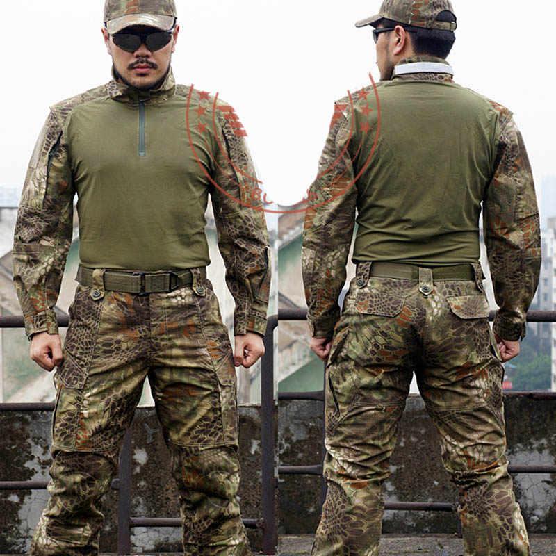 Человек Змея Камуфляж Военная Униформа форма АРМИЯ SWAT оборудования тактический бой Airsoft Брюки Рубашки для мальчиков Охота одежда