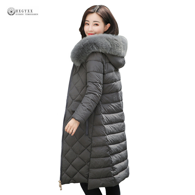 New 2017 Winter Woman Wadded Jacket Plus Size Pure Color Hooded Fur Collar Cotton Parka Long Thick Coat Padded Outerwear Okb97 2016 new hot winter thicken warm woman cotton padded wadded jacket coat parkas outerwear hooded fur collar long plus size 3xxxl