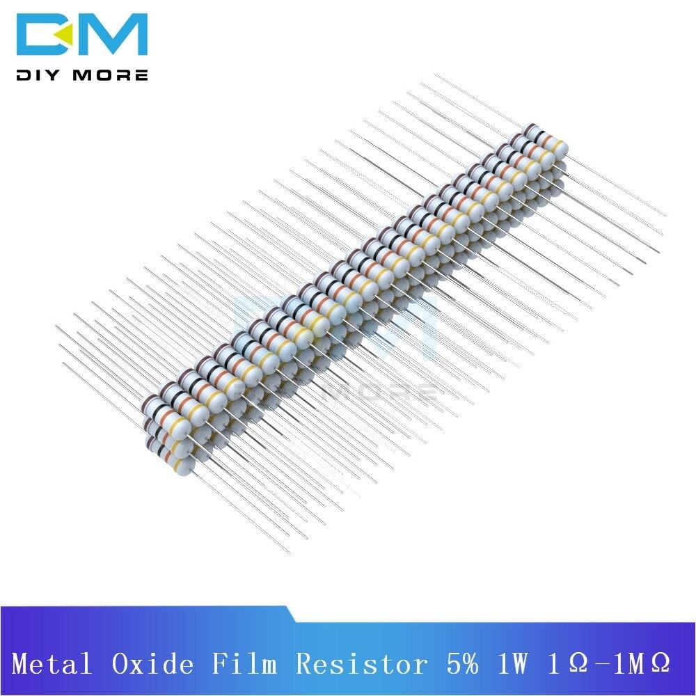 100PCS Diymore Metal Oxide Film Resistor 5% 1W 1R-1M Resistance Ohm +5% -5% Diy Electronic 1K 2.2K 4.7K 5.1K 6.8K 10K 15K 22K