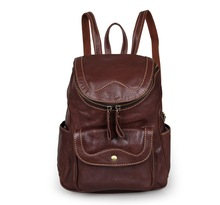 Fashion Real Leather Backpack Female Brands Soft Genuine Cow Leather Women Backpack Brown Top Layer Cowhide Lady Bag MD-J7303B