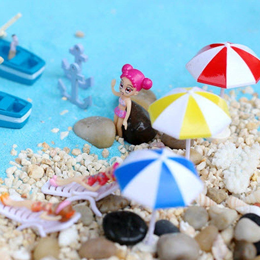 Beach Sun Umbrella Miniature Landscape Bonsai Dollhouse Decor Artificial Figures Home Decor Micro Landscape Ornament