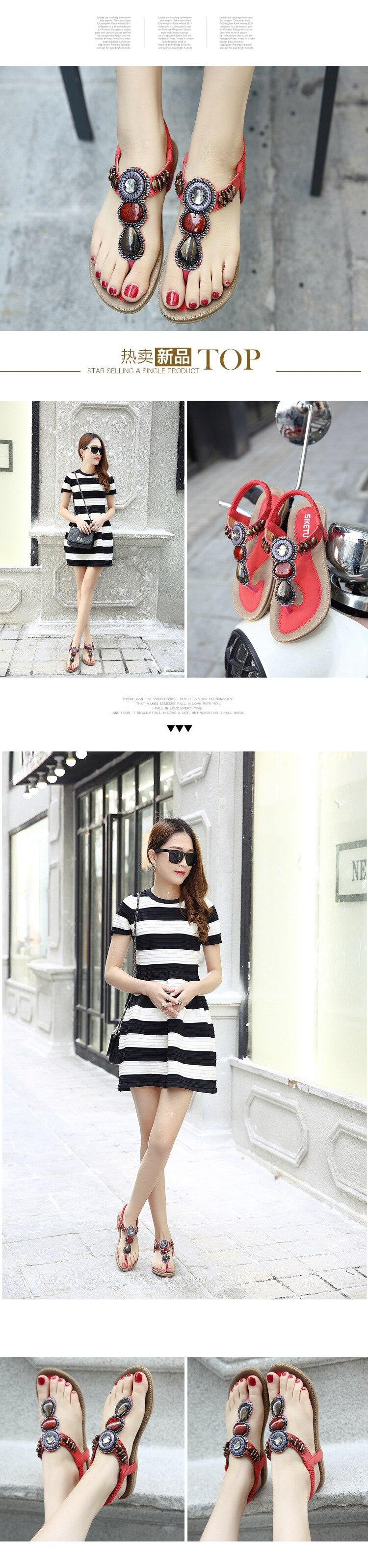 2017 novas sandálias femininas moda chinelos casuais boêmio sapatos planos
