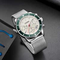 CADISEN hommes montres Top marque de luxe étanche montres-bracelets en acier inoxydable Date Simple montre à quartz décontractée hommes Sports 9067