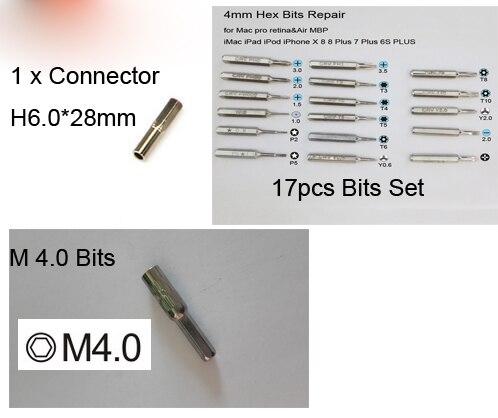 H 6.0 Connecteur et Hexagonale M 4.0 bits et 17 pièces embouts pour iPhone Macbook