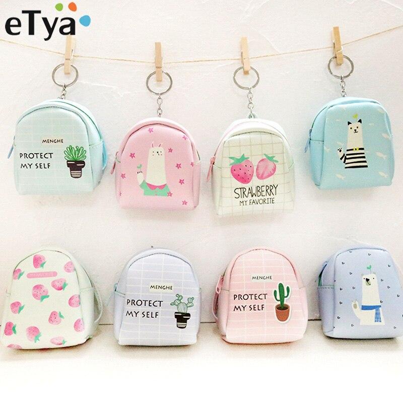 eTya Cute Cartoon Animal Coin Purses PU Leather Women Small Wallet Ladies Change Purse Child Girl Mini Zipper Pocket Key Bags