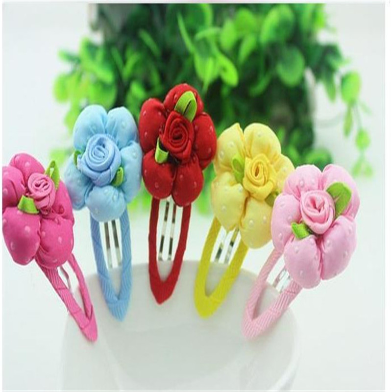 Hot Sale Fashion Cute 6 Pcs/lot Kids Hair Clips Flower Accessories Children Girls Headwear Cloth Hairpin Princess Gift
