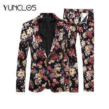 YUNCLOS New Men Suit 2 Pieces Floral Latest Coat Pant Designs Holiday Party Dress Stage Perform Suits Best Mens Blazer 6XL