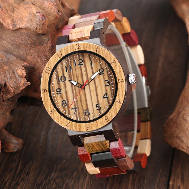 Retro Full Wood Watch Male Unique Mixed Color Wooden Band Quartz Watch Men Clock Man Top Luxury Fashion Men's Watch Reloj Hombre
