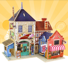 Castle Model Jigsaw Puzzle DIY Wood Assembling Toy Wooden Model Of 3D Puzzle Educational Funny Toys