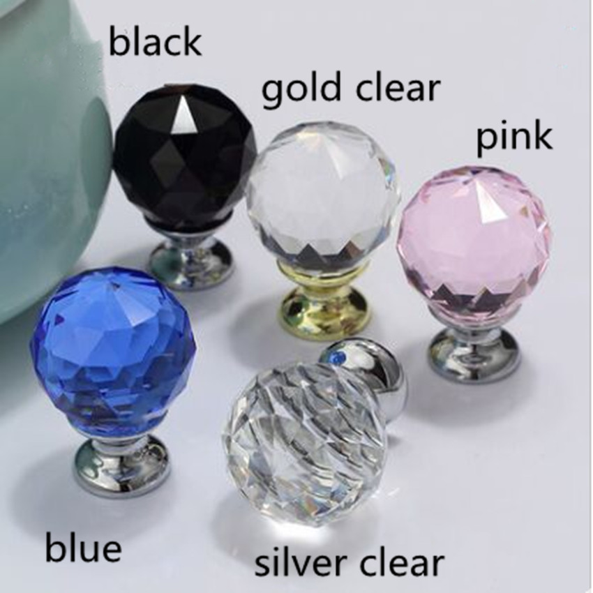 modern fashion deluxe glass crystal drawer cabinet knob pull silver gold black blue pink clear diamond head dresser door handle css clear crystal glass cabinet drawer door knobs handles 30mm