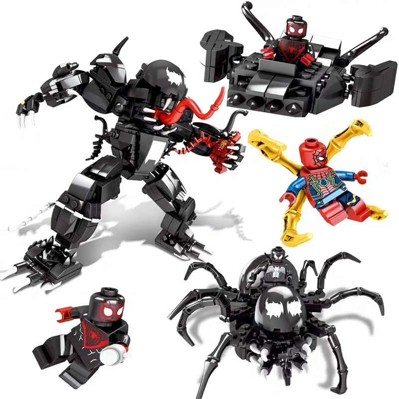 2019 New Marvel Super Heroes Set 3 In 1 Figure Spiderman Venom Mech Building Blocks Imposta Vendicatori Endgame Giocattoli 76115