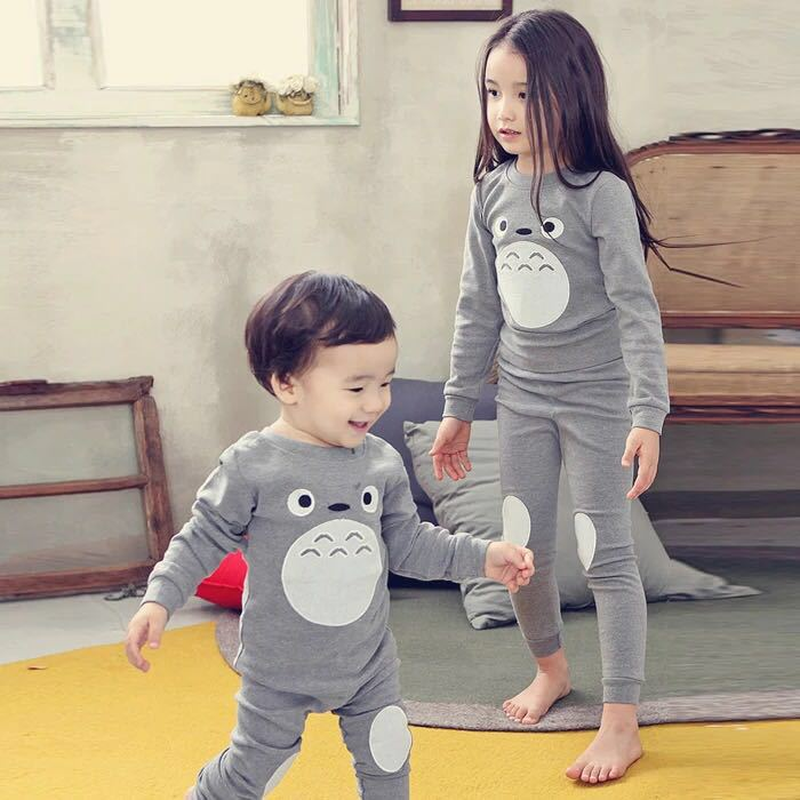 Autumn Children Clothes Kids Clothing Set Boys Pajamas Sets Totoro Styling Nightwear Print Pajamas Girls Sleepwear Baby Pyjama baby boy girls kid cartoon clothing pajamas sleepwear sets nightwear outfit children clothes