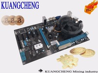KAUNGCHENG Free Shipping ETH ETC ZCASH With I3 Cpu 8 CARDS Motherboard HM76 65 BTC COMBO
