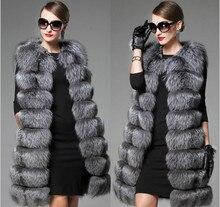 Европейский станция новая высокая имитация Меховой жилет женщин вся кожа меха лисы длинный участок Корейская версия пальто