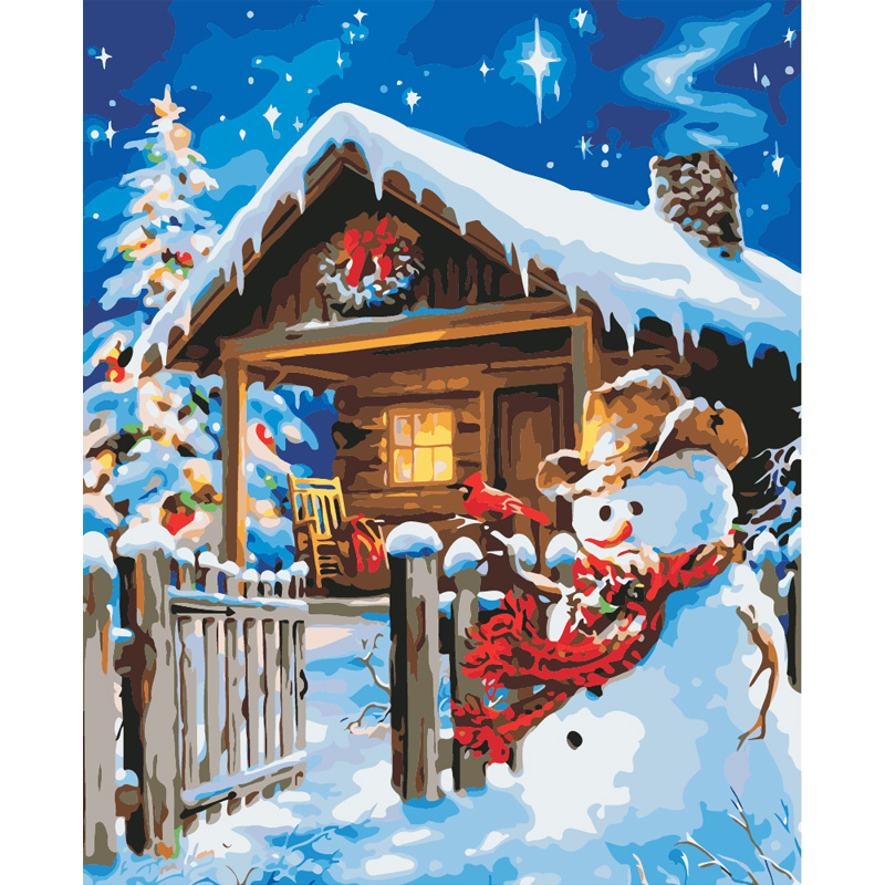 Digital Diy oil painting by numbers wall decor on canvas art oil paint snow scenery coloring by number Christmas gift