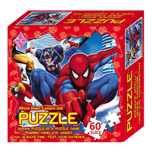 60 pcs/set paper jigsaw puzzle Marvel Avengers Spider man Princess Car Toys For Kids Games Toy Educational Puzzles Children Gift