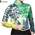 Moet &She High Quality Satin Ladies Tops Autumn  POLO Collar Print Floral Retro Yellow Green Shirt Clothes For Women T69906R
