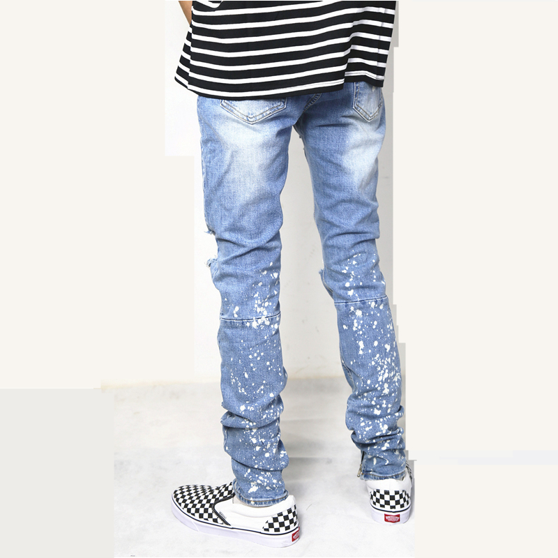 Hip Hommes Urbain Détruit Streetwear Zipper Mode Fit Jeans Homme Affligée Pantalon Hop Denim Déchiré Blue Slim Haute Jambe Style pEwqIgg