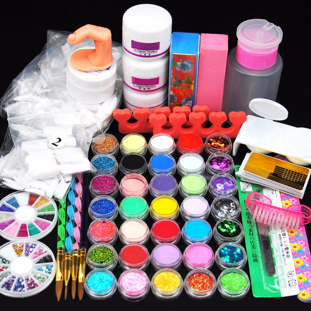 Acryilc Powder Dust Nail Art Kit French Tips Glitter File