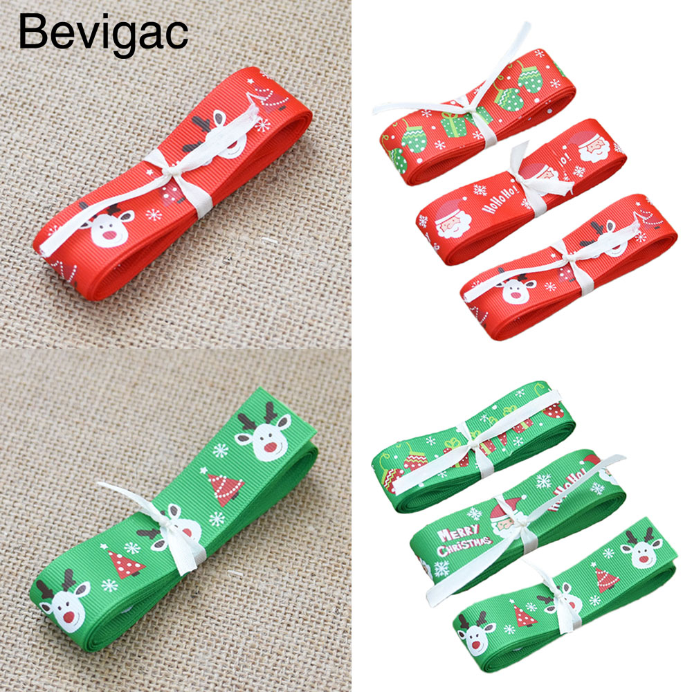 Behogar 3 PCS Christmas Grosgrain Fabric Ribbon Set For Gift Wrapping DIY Crafts Hair Bow Xmas Party Decor 2m Length Accessories