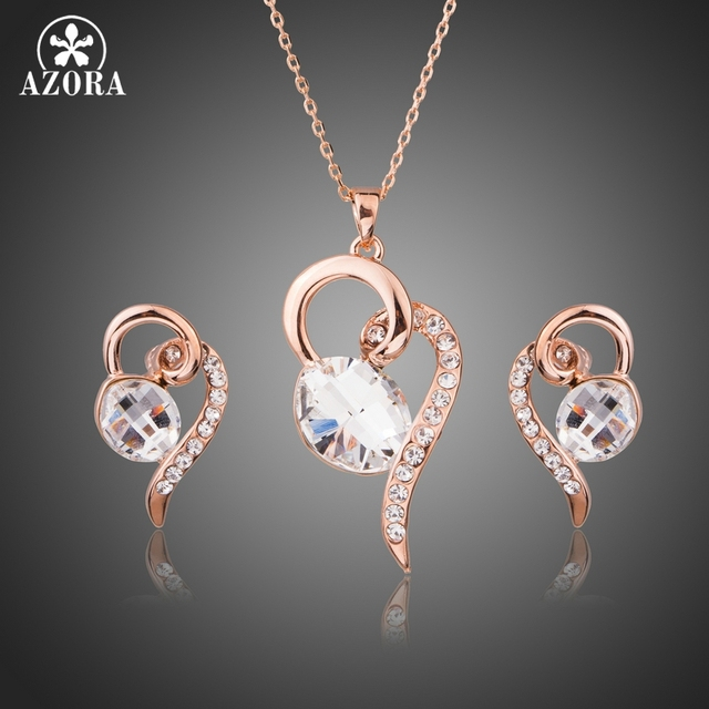 Azora projeto do coração com oval limpar cristal austríaco pingente colares e brincos conjuntos de jóias para o presente do dia dos namorados tg0229