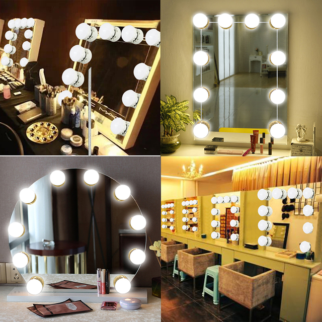 Kmashi 16W Mirror Makeup Vanity Lights Kit 10 Bulbs USB Charging Port Led  Lights Hollywood