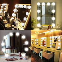 Kmashi 16W Mirror Makeup Vanity Lights Kit 10 Bulbs USB Charging Port Led Lights Hollywood DIY Vanity Lamp for Dressing Table