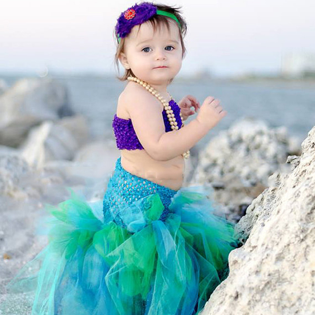 9a9695228 Beach Mermaid Tutu Set Baby Girl Cosplay Costume for Halloween Party Double  Layer Outfit Mermaid Girl Dress RTS Under The Sea