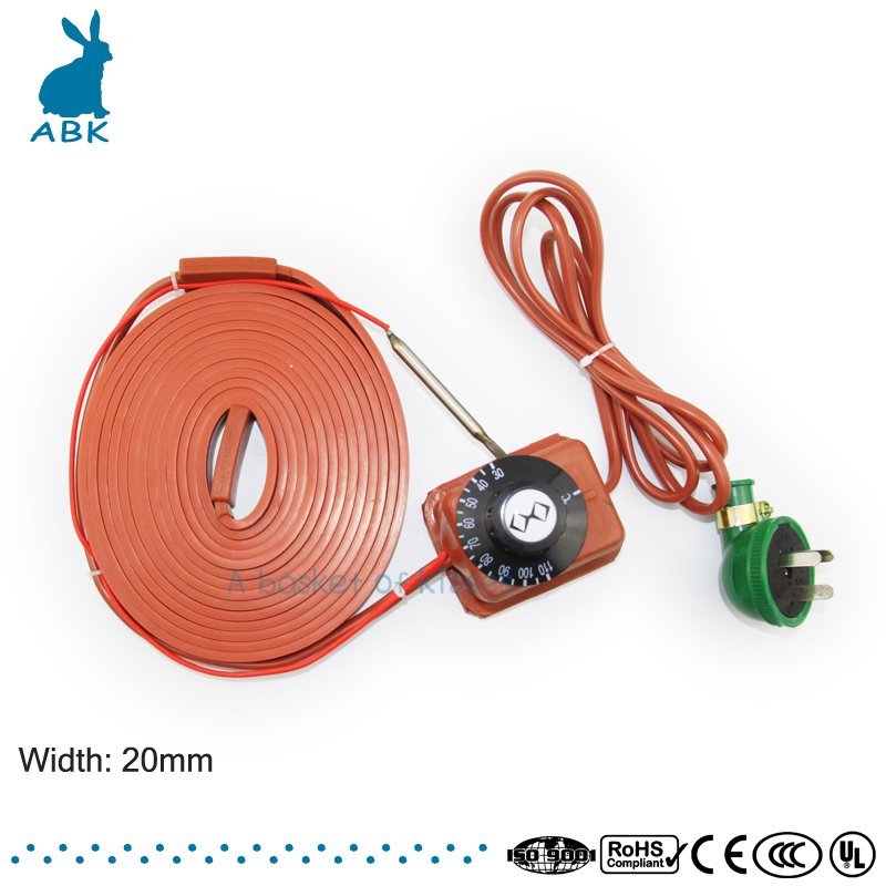 220V width 20 mm Silicon rubber heating cable Simple installation heating wire Antifreezing heat preserving Heating cable 180 mm wide 900 mm length silicone rubber heating plate heating belt bucket heater heating cable