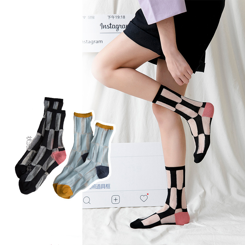 Women Casual   Socks   1 Pair 2019 Spring New Girl Color Women Fashion Long Thin Soft   Socks   For Women Breathable Transparent Style