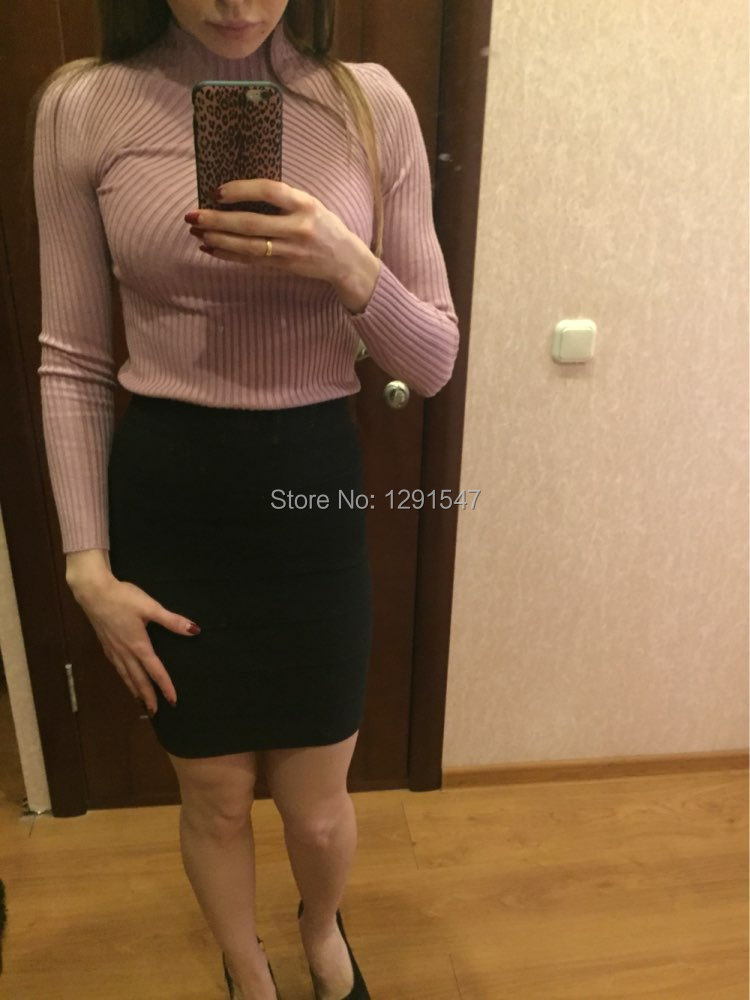 New 17 Spring Fashion Women sweater high elastic Solid Turtleneck sweater women slim sexy tight Bottoming Knitted Pullovers 6