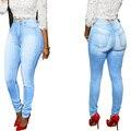 XXL Jeans Woman 2017 Sky Blue Light Wash Women's Jeans High Waist Long Pencil Pant Femme Plus Size Slim Jeans Female Denim Pants
