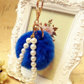 Fashion Genuine shaggy rex rabbit Fur Ball PomPom Bags charm Cute rabbit fur ball Keychain Handbag Key Ring  best holiday gift
