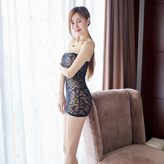 Mini Dress Crotchless Print Transparent Sleepwear
