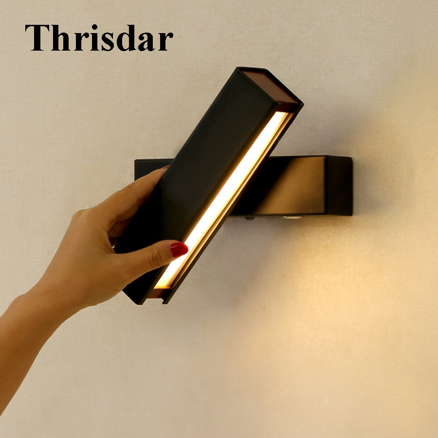 Thrisdar Modern Simple LED Wall Lamp Bedroom Beside Reading Wall Light Living Room Corridor Hotel Indoor Wall Lighting Fixture modern lustre chrome metal led wall lights creative wifi model crystal bedroom led wall lamp corridor led lighting light fixture