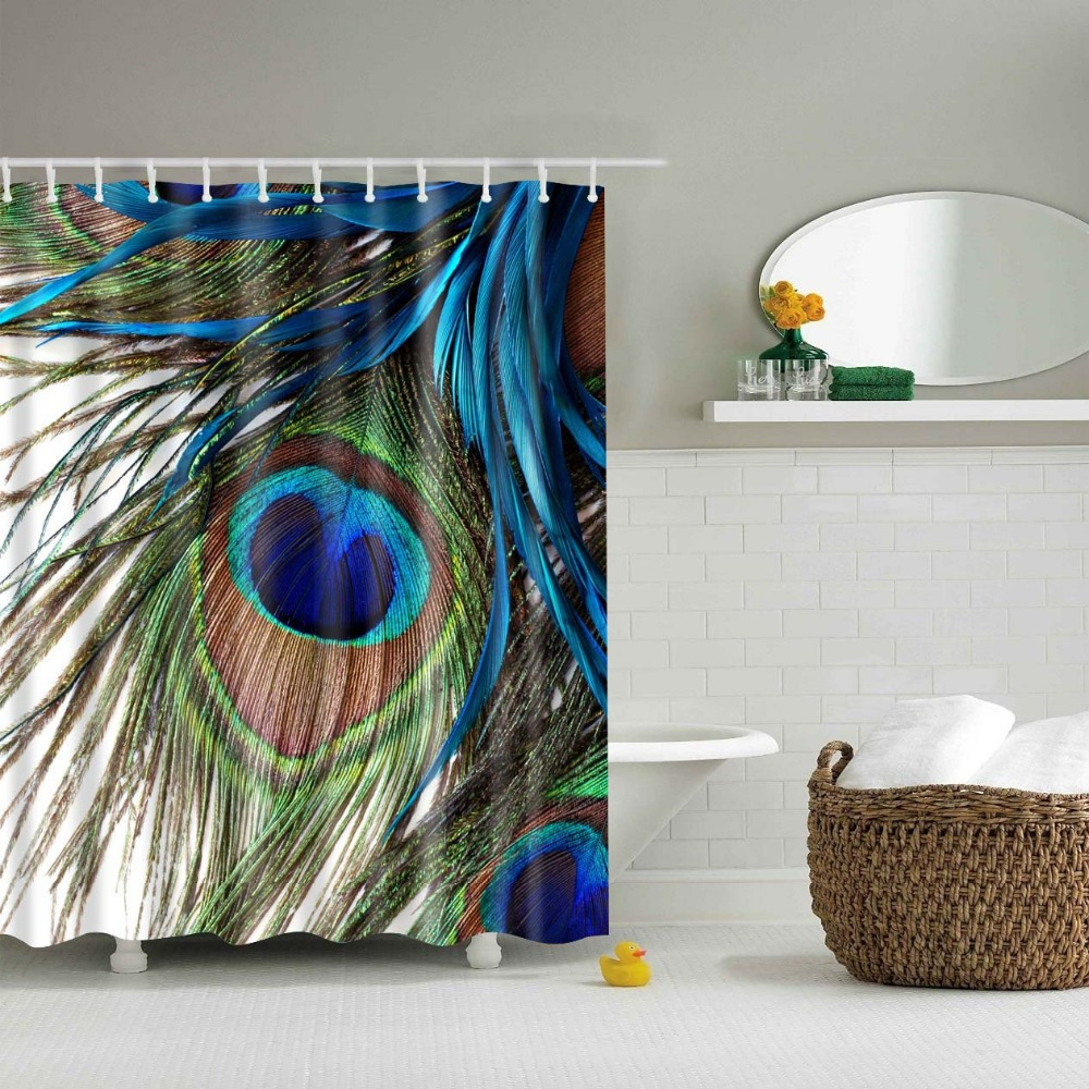 Peacock feather fabric shower curtain quot teal peacock feather quot green - Polyester Waterproof Bathroom Curtains 2017 New Design Unique 3d Peacock Feather Shower Curtains China