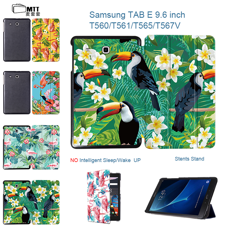 MTT Print Flamingo Case for Samsung Galaxy Tab E 9.6 T561 T560 T565 Tablet Case 9.6 inch Stand Protective Cover for Tab SM-T561 планшет samsung galaxy tab e 9 6 8gb 3g black sm t561